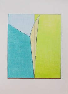 Photo of artwork showing light blue, aqua, yellow-green, and cream forms
